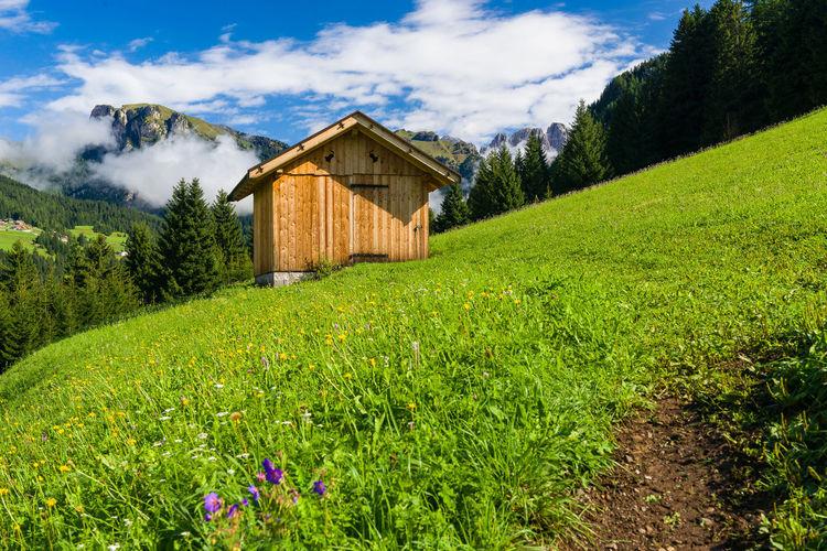 Log cabin on green hill against sky
