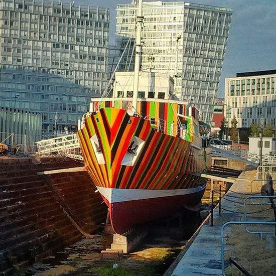 Dazzle boat. Actual name. Actual design used to try and dazzle and confuse the enemy during WW1. Dazzleboat Liverpool AlbertDocks