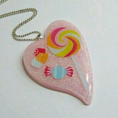 Candy Pink Heart Pendant Etsy Resin 2littlekisses