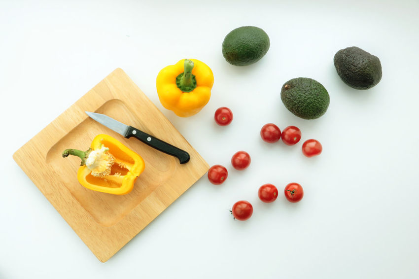 Avacado Close-up Cooking Cutting Board Day Diet Diet & Fitness Food Food And Drink Foodphotography Freshness Healthy Eating Healthy Food Healthy Lifestyle High Angle View Indoors  Knife No People Paprika People Tomatoes Vegetable Vitamin Wood