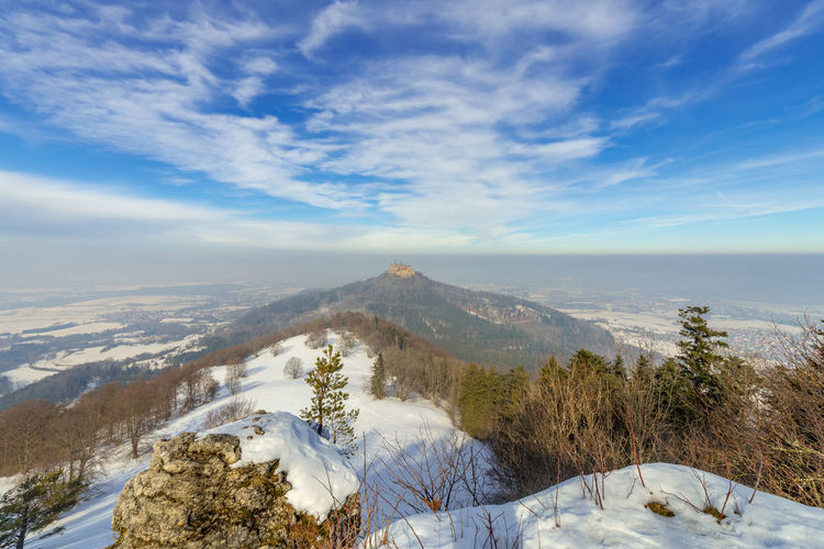Scenic view of snowcapped mountains against sky at hohenzollern castle