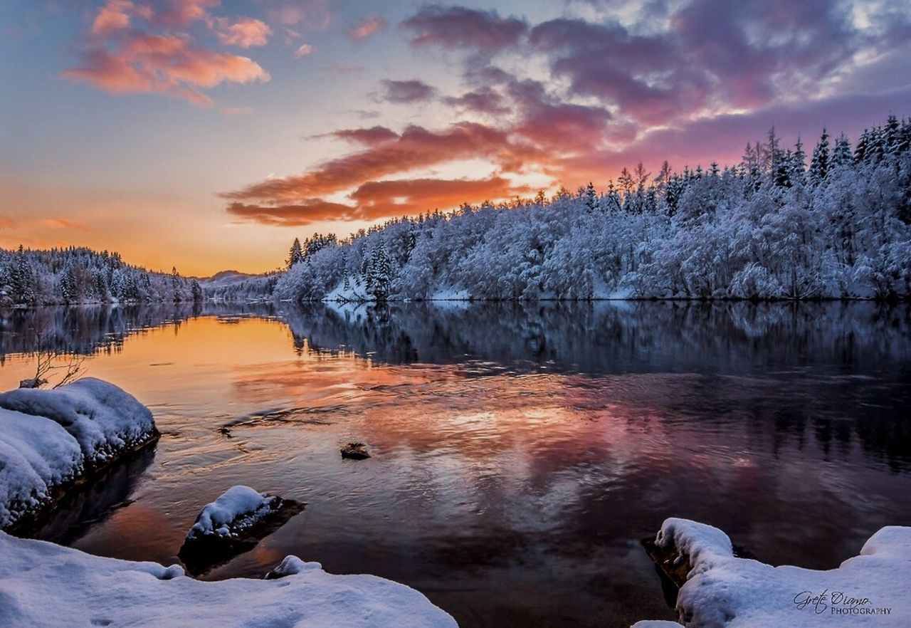sunset, nature, scenics, beauty in nature, tranquil scene, cold temperature, sky, winter, tranquility, cloud - sky, snow, water, outdoors, lake, idyllic, tree, no people, rock - object, frozen, ice, mountain, landscape, day, iceberg