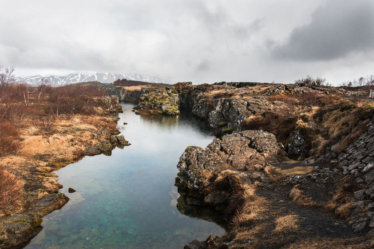 Iceland Thingvellir National Park Almannagja Beauty In Nature Goldencircle Mountain Nature Rock Rock - Object Rock Formation Scenics - Nature Tranquil Scene Tranquility Water þingvellir