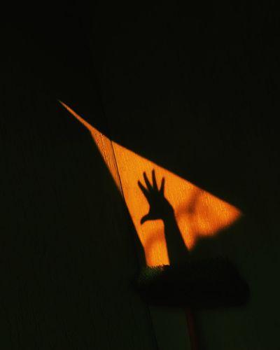 Shadow of hand on wall