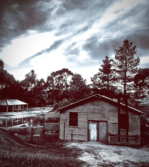 Gold Rush Diggings Historical National Park Tin Shed Skies darkness and light Eerilybeautiful Eerie Photos Old Structures Victoria Castlemaine Gold Rush Trail