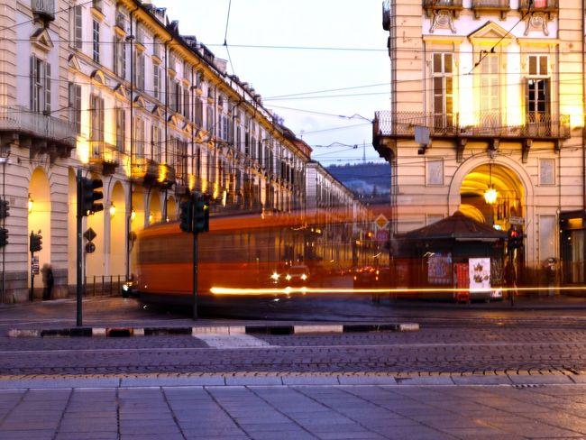 Capturing Motion Turin Italy Public Transportation Outdoors Illuminated Rail Transportation Train - Vehicle Horizontal Evening
