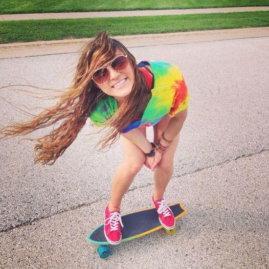 Sk8 Summer Skate Girl Tiedye Penny Board