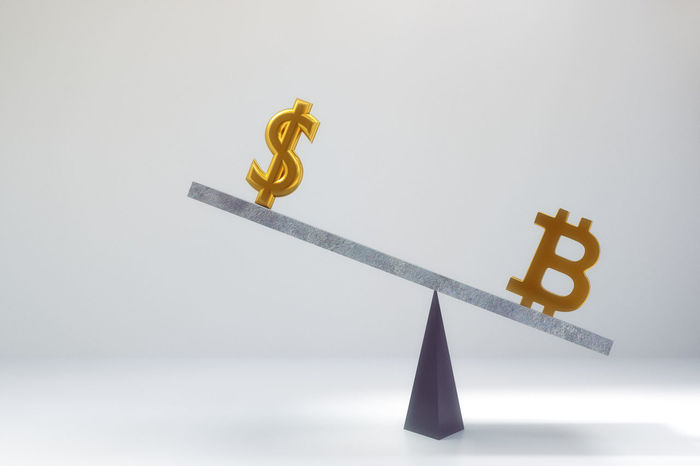 Business Scale  Balance Bitcoin Close-up Compare Day Dollar Finance Gold Colored No People Studio Shot White Background
