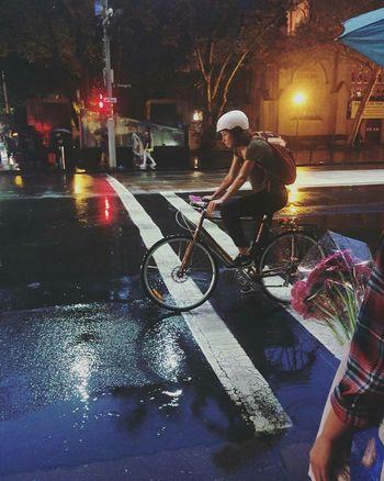 CyclingUnites HERO Fixie Fixed Fixieporn Rain Rainy Days Person Street Night City Sydney Bike Cycling First Eyeem Photo