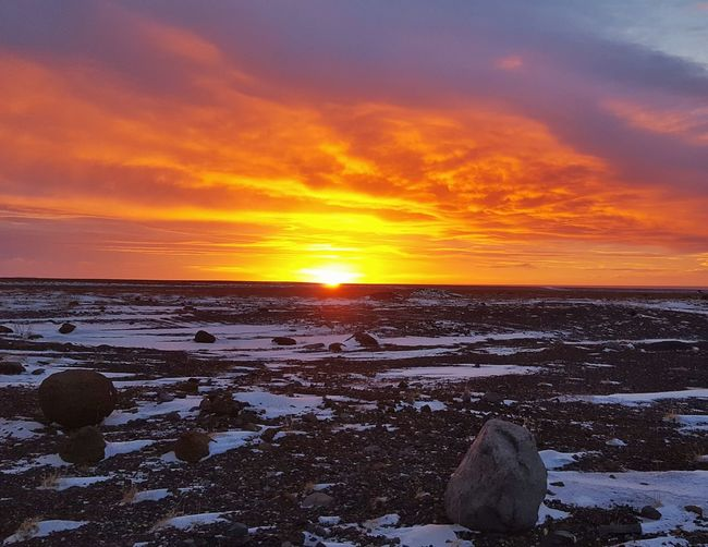 First sunrise 2017 Iceland Road Trip New Year Scenics Sun Sky Beauty In Nature Natural Colors Outdoors Tranquility Morning Beginnings Miles Away