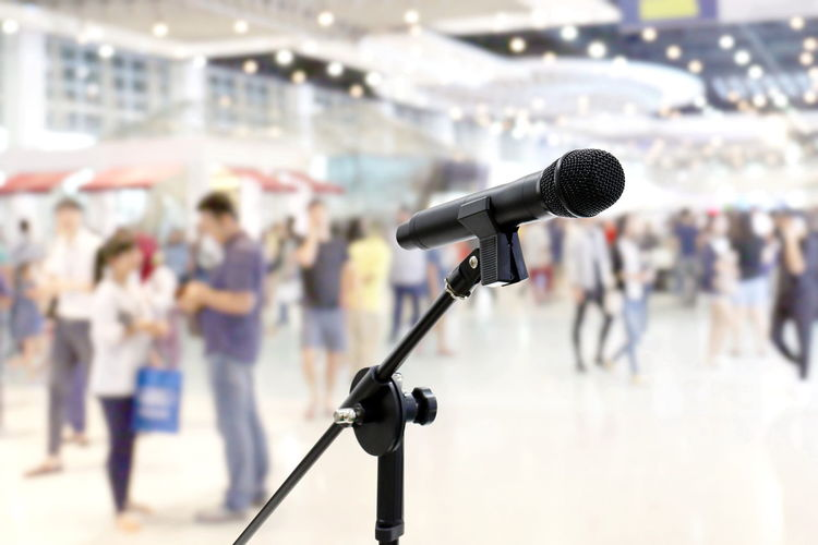 Microphone public relations on Blurred many People within Department store Shopping Mall Event hall inside background Microphone Public Relations Arts Culture And Entertainment Audience Communication Crowd Focus On Foreground Government Group Of People Incidental People Input Device Men Microphone Microphone Stand Music People Performance Spectator Speech Stage Stage - Performance Space Standing Talking Technology