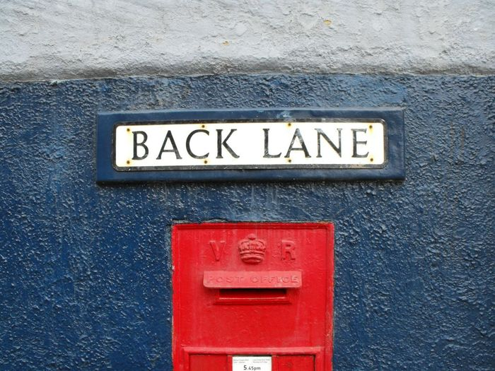 ... Back Lane Post Box  ... Red Close-up No People Outdoors Day Postal Victorian Vr Blue Wales Newtown Powys Uk British Britain United Kingdom Street Name Street Name Sign Going Postal Street Name Lane Box Victoria Regia