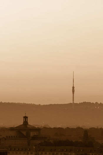 Dresden TV tower, Germany City Cityscape Morning Morning Light Morning Sky Silhouette Silhouettes Silouette & Sky Architecture Building Exterior Built Structure City Day Dust Fog History Nature No People Outdoors Sepia Sky Sunset Tourism Travel Travel Destinations