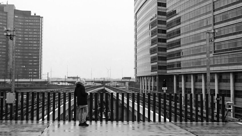 Waiting For A Train Amsterdam Sloterdijk Station End Of The Trail End Of The Track (c) 2016 Shangita Bose All Rights Reserved Pattern Pieces Architecture_bw Monochrome Monochrome_Monday Horizon Over Land People Photography Buildings Wintertime Black And White Showcase March Your Amsterdam The Architect - 2016 EyeEm Awards The Street Photographer - 2016 EyeEm Awards My Commute Urban Geometry