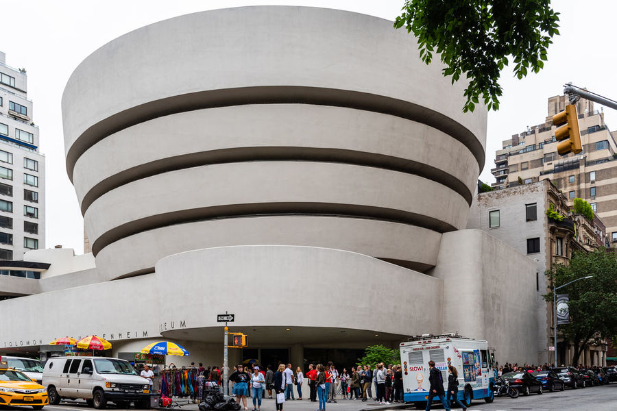 Guggenheim Museum in New York Manhattan American NYC Travel Day Architecture Built Structure Building Exterior Nature Outdoors Modern Architecture Frank Lloyd Wright Frank Lloyd Wright Architecture Guggenheim Guggenheim Museum Landmark Iconic Iconic Buildings Solomon R. Guggenheim Museum City Large Group Of People Group Of People Real People Crowd Men Women Transportation Street Adult Mode Of Transportation Lifestyles