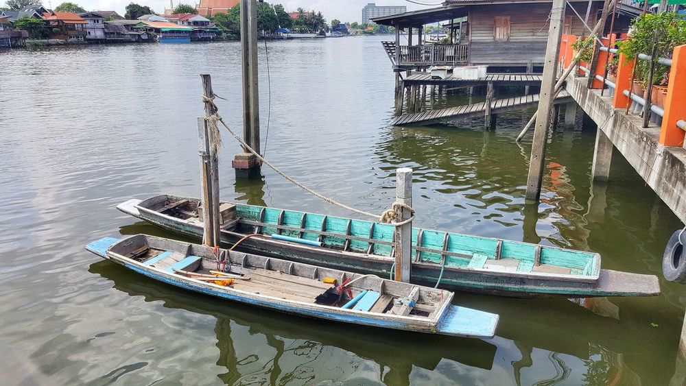 Water Nautical Vessel Day Waterfront Transportation High Angle View Architecture Mode Of Transport Outdoors No People Built Structure Building Exterior Moored Nature Thailand EyeEm Travel Nature Kohkret Kokret Ko Kret Travel In Thailand EyeEm Team