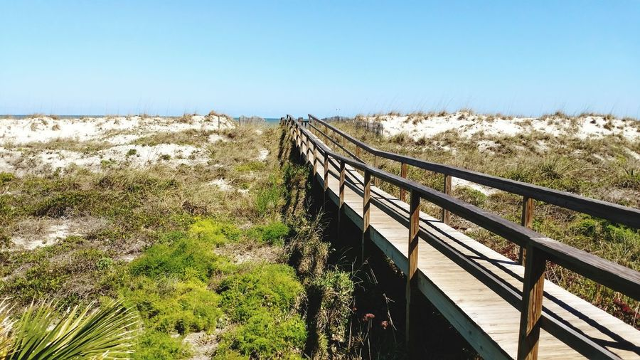 Beach Clear Sky Landscape No People Elevated Walkway Beauty In Nature Outdoors Nature Ocean Sand Sand Dune