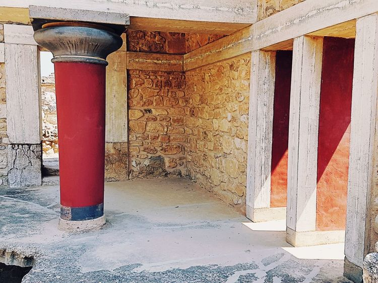 Architecture Built Structure Door Day No People Architectural Column Red Building Exterior Indoors  Close-up Knossos Crete Palace