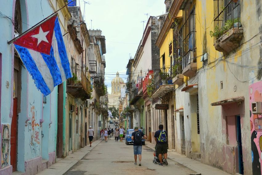 Cuba First Eyeem Photo Havanna, Cuba Streetphotography Old Buildings Old City Building Old City Streets Caribbean Life People And Places Old Havana Revolution Museum Cuban Flag