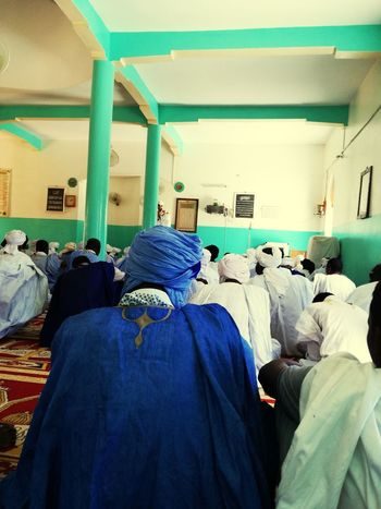 friday prayer Prayer Muslim Peaceful Mosque Mauritanie Rear View Adult Indoors  Men Blue People Only Men
