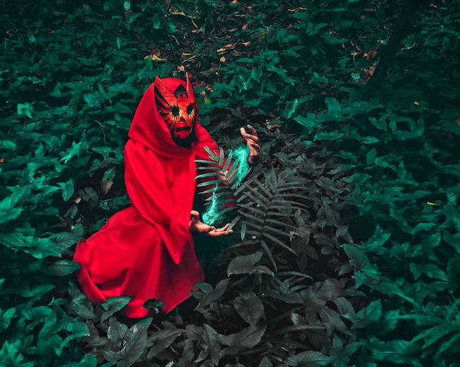 Forest Guarduan. edited with PicsArt Portrait Mystery Red Riding Hood Picsart Mobilephotography Masked Mask Maskedportraits Masked Portrait Conceptual Conceptual Photography  Creativity Creative Fairytale  Fairy Tale Red Sitting Dress Witch Fictional Character ArtWork Halloween The Portraitist - 2018 EyeEm Awards The Creative - 2018 EyeEm Awards