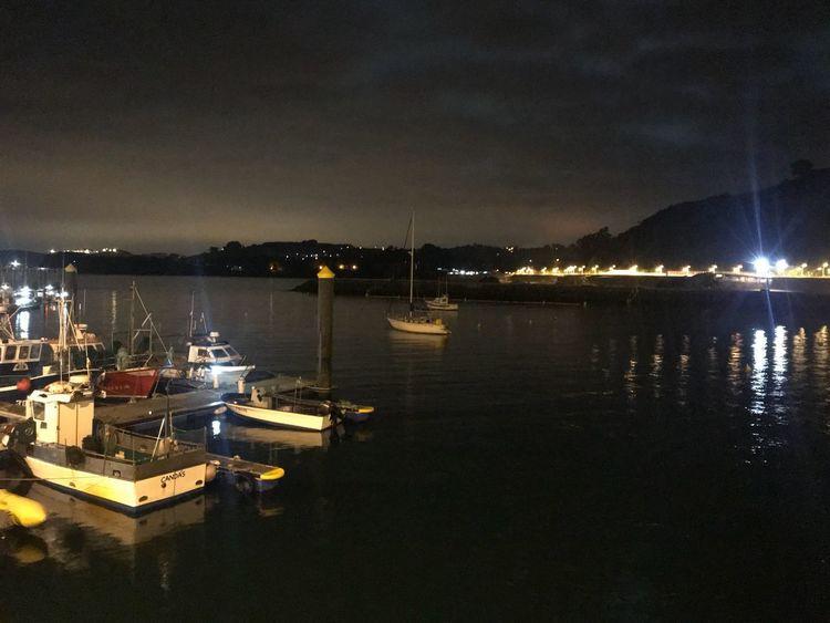 Candas Marina Water Night Sky Illuminated Sea Nature No People Nautical Vessel Reflection Bay