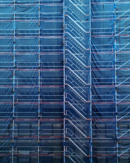 Abstract Architecture Backgrounds Blue Close-up Construction Industry Construction Site Day Full Frame Industry Metal Nature No People Outdoors Pattern Power Supply Repetition Solar Panel Striped Technology