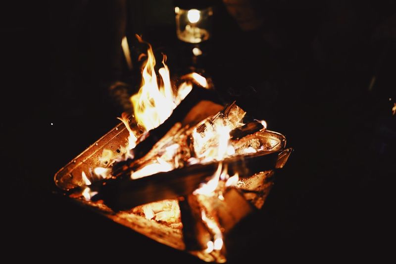 Close-up of bonfire at night