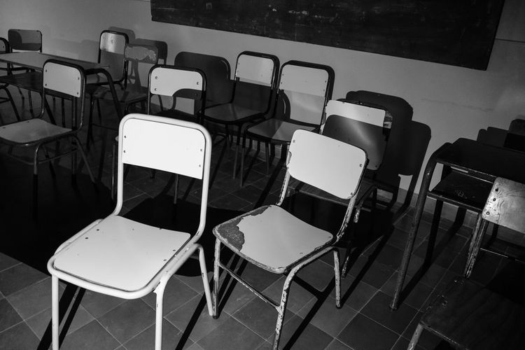 Abandoned Blackandwhite Chair Classroom Dark Empty Furniture Grunge No People School Seat Shadows