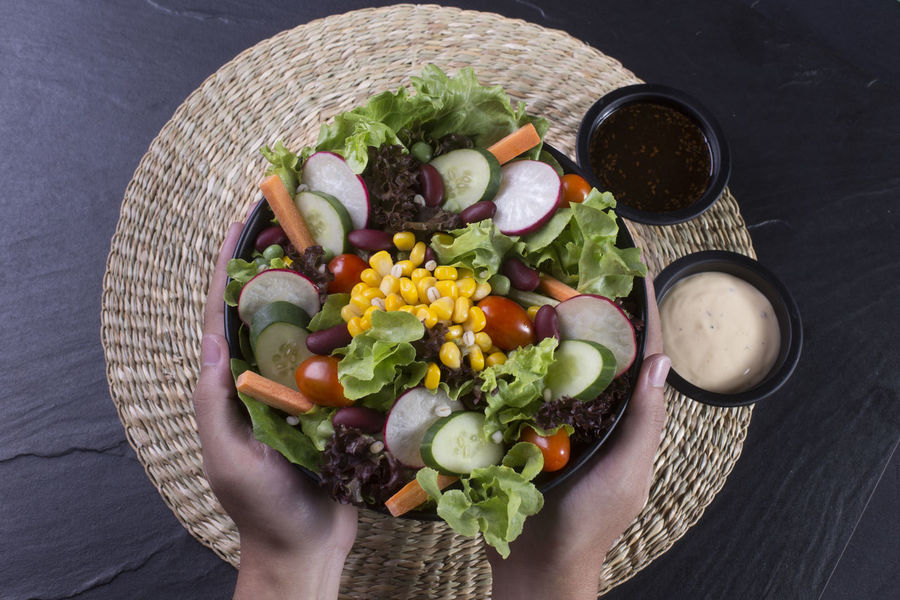 Food And Drink Good Food Natural Nature Salad Bowl Close-up Day Directly Above Flower Food Food And Drink Foodphotography Freshness Fruit Healthy Eating High Angle View Indoors  Lettuce One Person Ready-to-eat Salad Salad Time Variation Vegetable