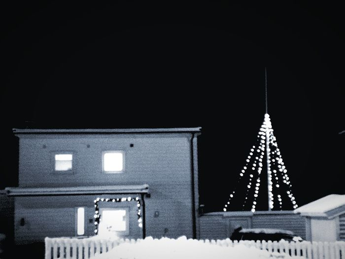 'MERRY Christmas' Home Home Sweet Home Snow Winter Cold Temperature Tree Christmas Christmas Decoration christmas tree Architecture Sky Building Exterior Christmas Lights Snowflake Religious Event Ice Crystal Frost December Icicle Snowing Christmas Ornament