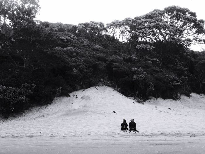Friends. IPhoneography Iphoneonly OpenEdit Fresh 3 Blackandwhite Black And White Black & White Bnw People Sitting Relaxing Holiday Sand Beach Sand Dune Beachphotography Hill Trees Nature Nature_collection Landscape Landscape_Collection IPS2016People The KIOMI Collection The Great Outdoors - 2016 EyeEm Awards