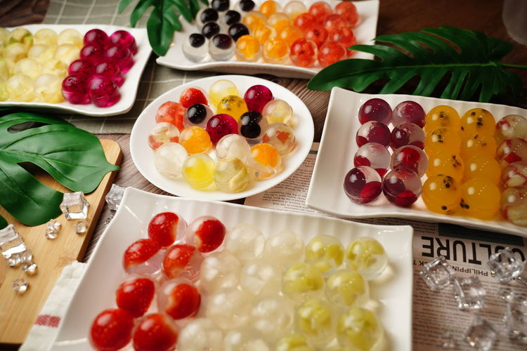 High angle view of multi colored fruits on table