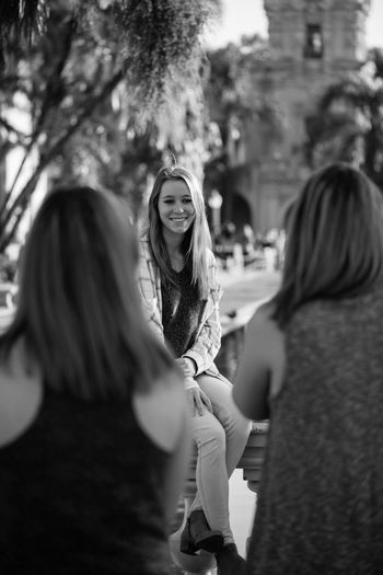 Black and white photo of girls at the local park Black And White Black And White Photography Casual Clothing Friends Girls Happiness Leisure Activity Lifestyles Park Person Real People Smiling Togetherness Waist Up Young Adult