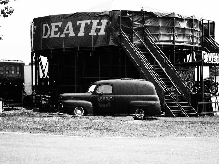 Wall Of Death Motorcycle Carnival Transportation Land Vehicle Car Mode Of Transport Built Structure Architecture Abandoned Day Building Exterior Stationary Outdoors No People