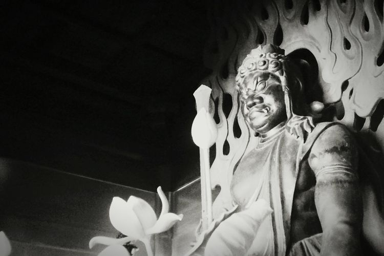 ブレない志 Hello World Japanese Temple Tokyo,Japan 新宿 寺 三日月不動 Monochrome