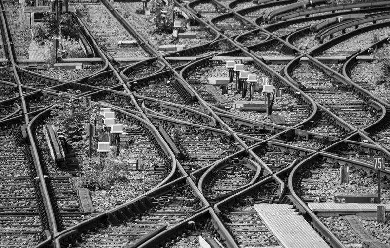 Crisscross railroad tracks in city