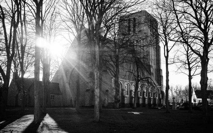 Little village Oostkerke, near Zeebrugge, Bruges and Damme. Backlit Belgium Blackandwhite Church First Eyeem Photo Flemish Church Westtexas Wintersun Wintersunshine