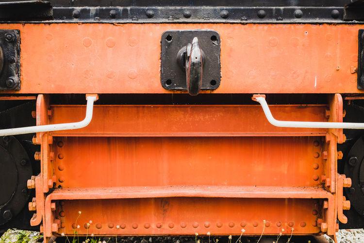 Full frame shot of metallic steps on old train