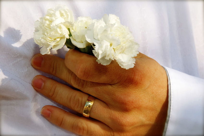 Wedding Bouquet Cropped Flower Flower Head Focus On Foreground Fragility Gold Hand Human Finger Kvission Life Events Luminous Luminouslight Man Mónica Nogueira. Person Petal Ring Romantic Selective Focus Skin White Husband