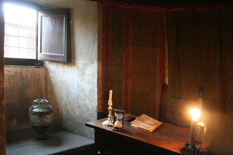 Ancient room with desk Castle Room Vase Candle Domestic Room Indoors  Ink Well Italy Lazio Old-fashioned Table Via Amerina Window