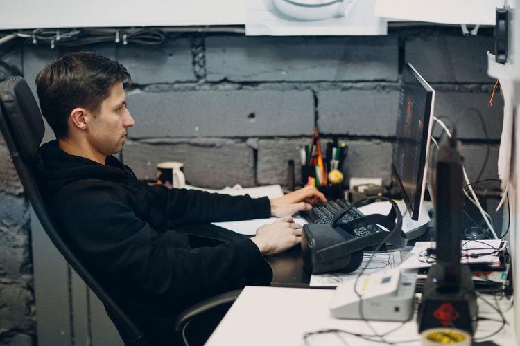 Man using computer at office