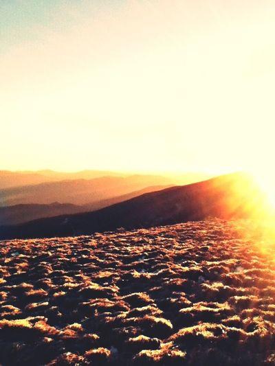 Mountains Hiking Sunset