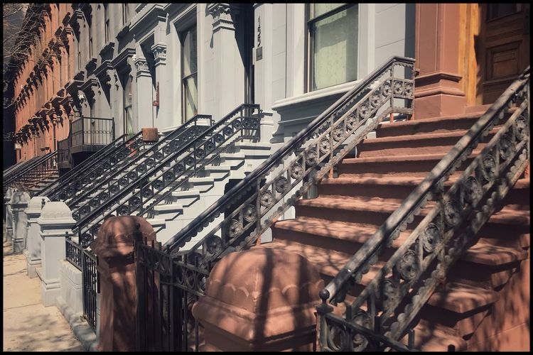 Harlem, NYC Sunlight New York Kris Demey Photography Architecture Architecture Built Structure Metal No People Staircase In A Row Day Sunlight Railing Large Group Of Objects Steps And Staircases Arrangement Building Wall - Building Feature