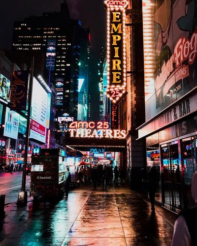 Time Square Illuminated Night Architecture Text Building Exterior Reflection Travel Destinations