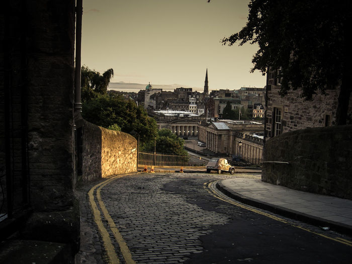 from Old Town Edinburgh Cobblestone Streets Edinburgh Edinburgh Castle Edinburgh, Scotland Empty Streets High Street Monuments Old Town Royal Mile Scotland United Kingdom Black And White Black And White Photography Cobblestone Sunrise Sunrise Scotland