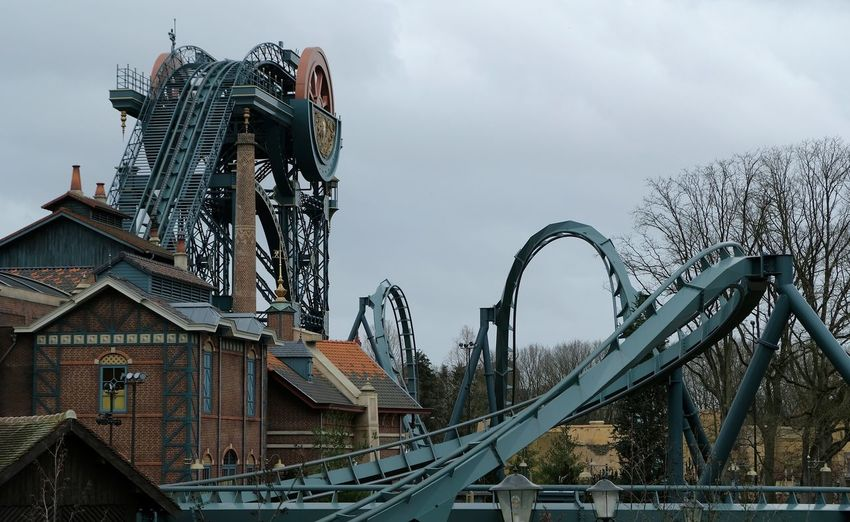 Attraction theme park the Efteling, Kaatsheuvel, the Netherlands Sky Architecture Built Structure Nature Cloud - Sky No People Building Exterior Tree Day Metal Connection Water Low Angle View Outdoors Railing Bridge Plant Bare Tree