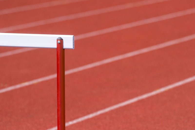 Close-up of hurdle on running track