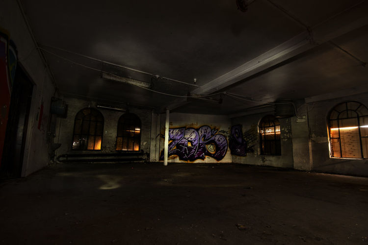 Forgotten Gritty HipHop PaintJob Youth Abandoned Absence Building Ceiling Colorsplash Contrast Crackhouse  Culture Empty Gloomy Grafitti Hangout Illuminated Indoors  Night No People Piece Rap Rough Slum