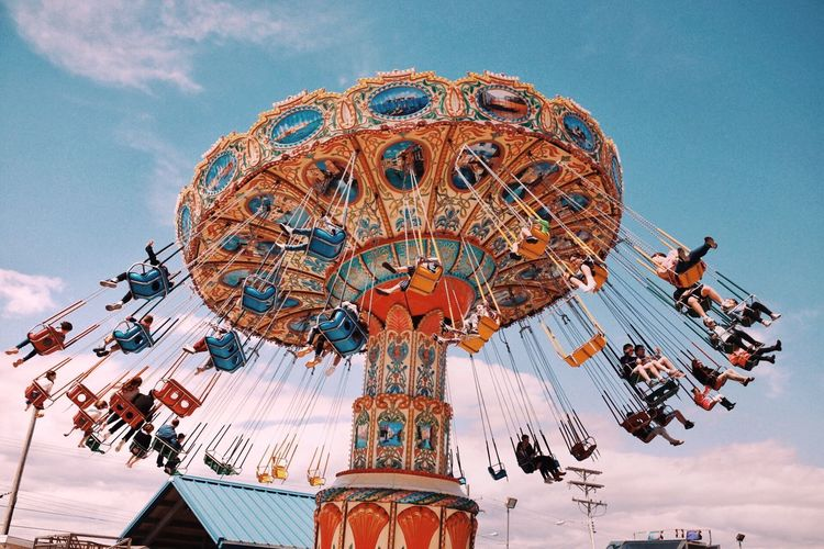 EyeEm Selects Sky Low Angle View Amusement Park Amusement Park Ride Arts Culture And Entertainment Nature No People Architecture Representation Chain Swing Ride Built Structure Outdoors Travel Destinations Cloud - Sky Day Art And Craft Sculpture Spinning Leisure Activity Ornate